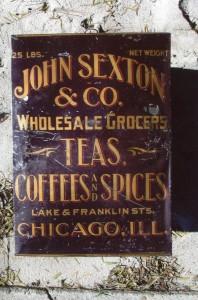 """John Sexton & Co. 25 lb. tin, """"Teas, Coffees & Spices"""""""